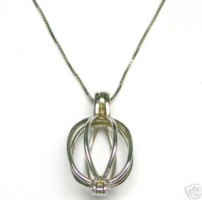 Natural 14K White Gold Necklace Cage