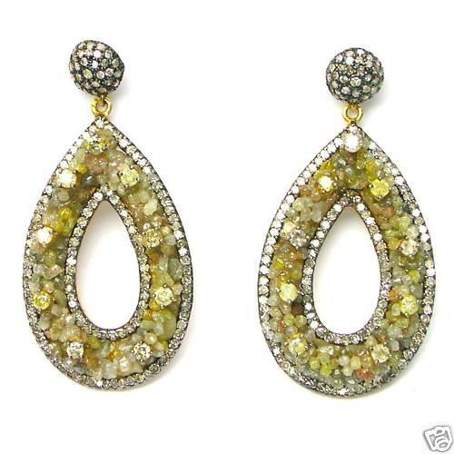 10.79 CARATS ROUGH BRILLIANT DIAMONDS 14K GOLD EARINGS