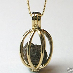 1+ Carat ROUGH DIAMONDS JEWELRY 14K Gold Necklace Cage