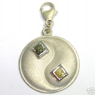 SILVER Charm w/ Natural Rough Uncut Cubic Diamonds