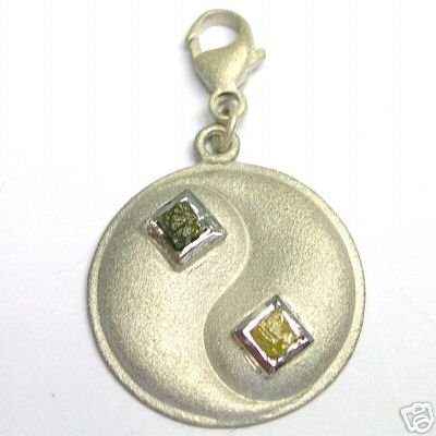 Silver Charm w/ Rough Cubic Diamond Diamonds