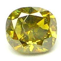 0.30 Carat Cushion FANCY OLIVE GREEN Polished Diamonds