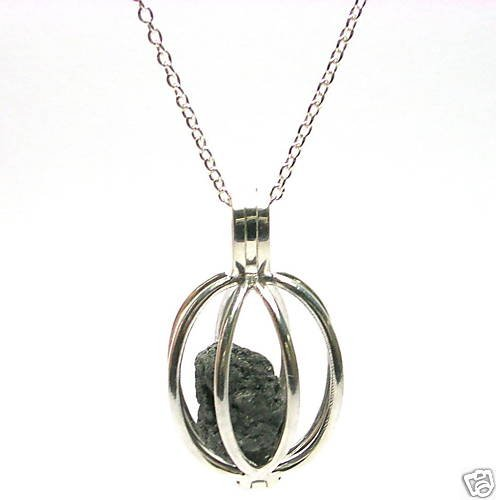 1-2 CARATS ROUGH DIAMONDS Silver Necklace Cage Treasure
