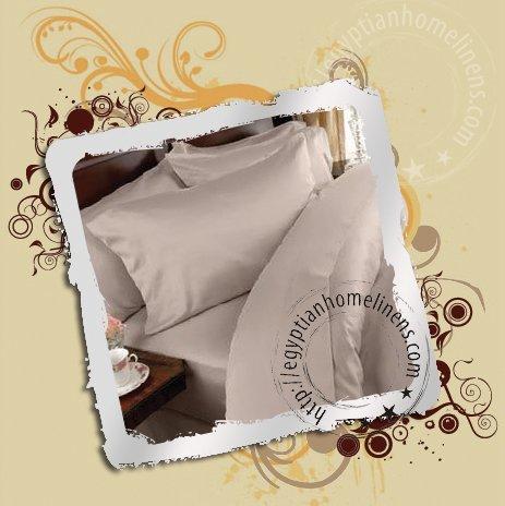 1200-TC Queen Sheet Set Beige 100% Egyptian Cotton