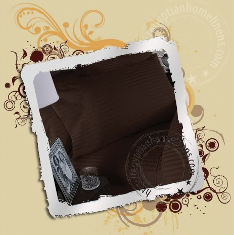 1200 TC Queen Chocolate Stripe Sheet Set Pure Egyptian Luxury Linens