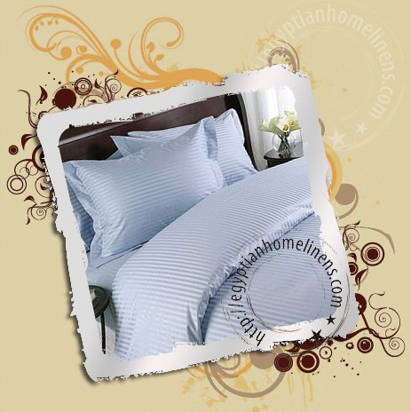 1200-TC Twin Sheets Blue Stripe Egyptian Bed Sheet Set