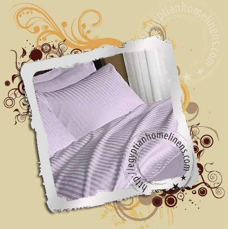 King 1500 Thread Count Lavender Stripe Sheet Set 100% Egyptian Cotton Home Linens
