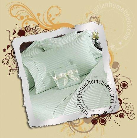 1200 TC Egyptian Calking King Size Sheet Set Nile Valley Cotton Sage Stripe Luxury Linens