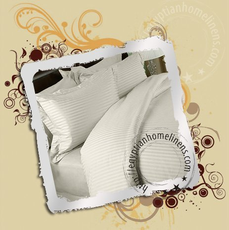 1200TC King Size Sheet Set Ivory Stripe Egyptian Cotton luxury Home Linens