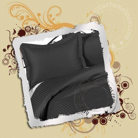 1000-TC Queen Bed Sheet Set Egyptian Cotton Black Stripe