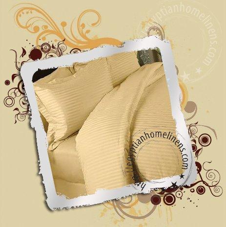 600TC Twin Size Sheet Set Gold Stripe Linen Ultra Premium Egyptian Cotton Sheets