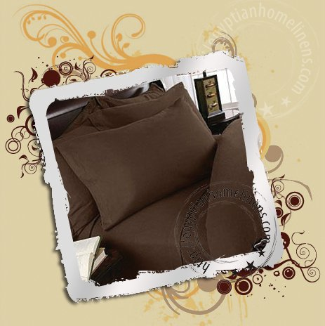 1000 TC Sheet Set Twin Egyptian Cotton Solid Chocolate bed sheet