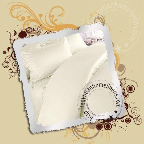 Duvet Cover Set 1200 TC Queen Ivory 100% Egyptian Cotton