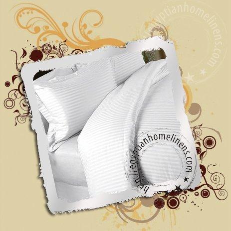 Queen Sheet Set Egyptian Cotton White Stripe Sheets 600 thread count