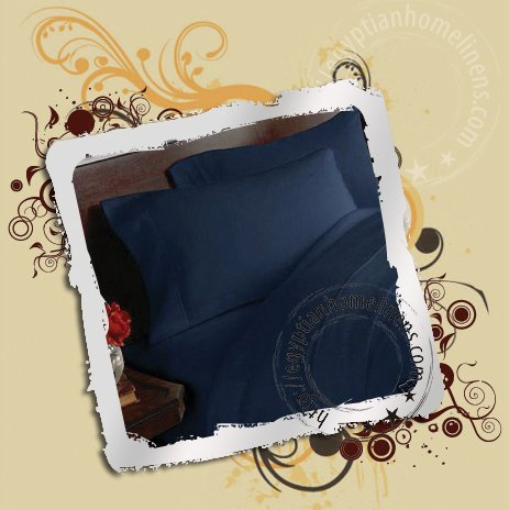 Queen Size Sheet Set with 2 Pillowcases, 1 Fitted Sheet & 1 Flat Sheet 600TC Navy Blue