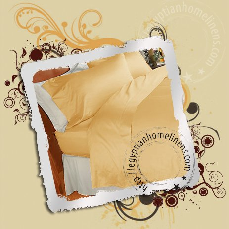 Egyptian Duvet Cover 600TC Solid Gold Queen Size