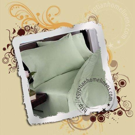 Egyptian Duvet Cover 600TC Solid Sage Queen Size Cotton Duvet Set