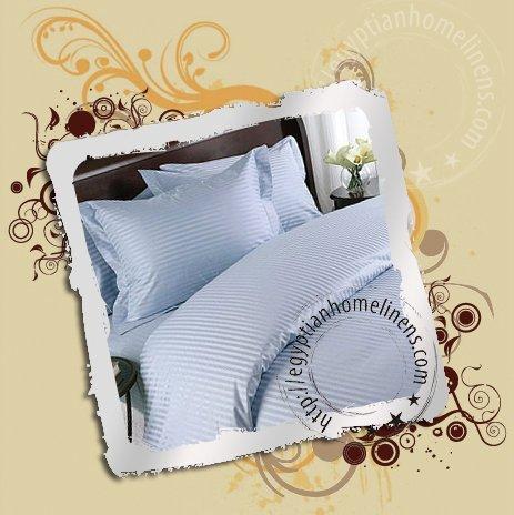 King Size Sheet Set 1000TC Egyptian Cotton Blue Stripe Bed Sheets