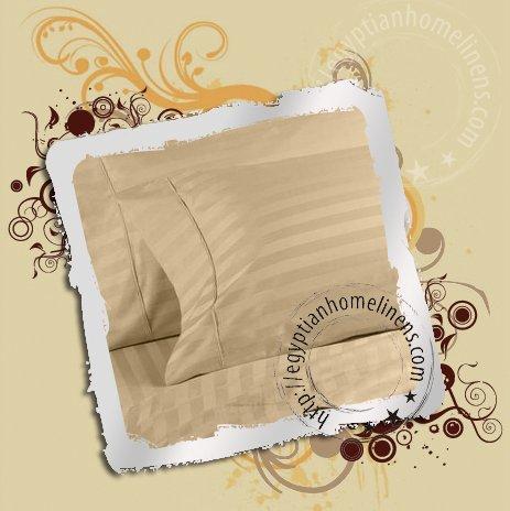 1000TC King Beige Stripe Sheet Set 100% Ultra Pure Egyptian Cotton Bedding