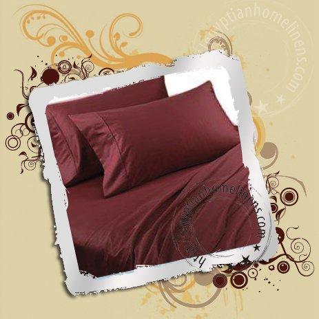 800TC Queen Sheet Set Burgundy 100% Egyptian Cotton Bedding Sheets