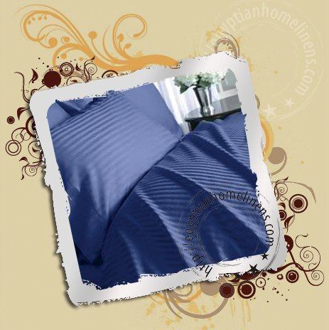 800-TC Queen Size Sheet Set Navy Blue Stripe Egyptian Cotton Bedding Sheets