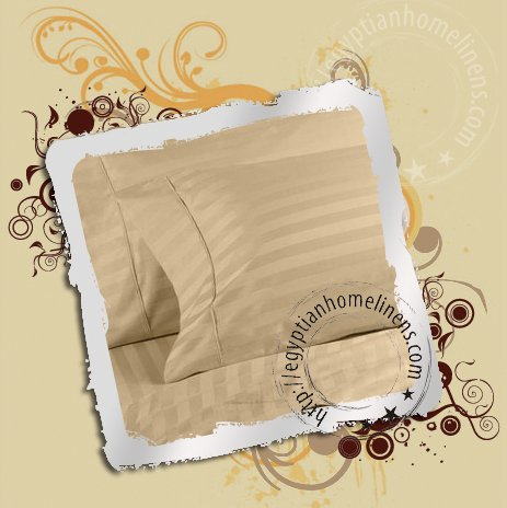 Queen Sheet Set 800 Thread Counts Beige Stripe Egyptian Cotton Bed Sheets