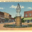 Linen Postcard. Arrow Head Monument to First Settlers of Old Fort, N.C.
