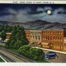 Linen Postcard. Trade Street at Night, Tryon, N.C.