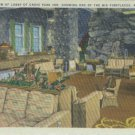 Linen Postcard. A View of Lobby of Grove Park Inn, Showing One of the Big Fireplaces, Asheville, NC