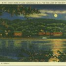 Linen Postcard. Night-Time at Lake Junaluska, N.C., In the Land of the Sky
