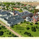 Linen Postcard. The World's Largest Chocolate and Cocoa Plant, Hershey, PA.
