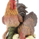 PORCELAIN ROOSTER FAMILY FIGURINE