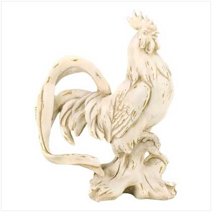 WEATHERED IVORY ROOSTER STATUE