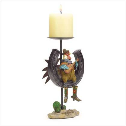 COWBOY ROOSTER CANDLE HOLDER
