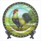 DECORATIVE ROOSTER PLATE & STAND
