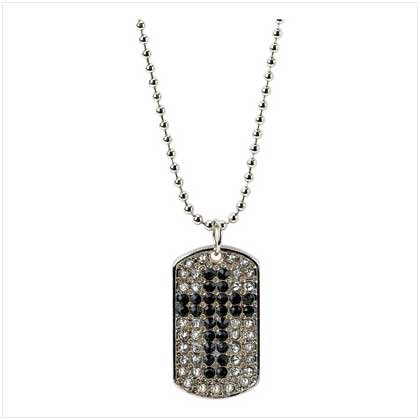 CRYSTAL CROSS DOG TAG NECKLACE