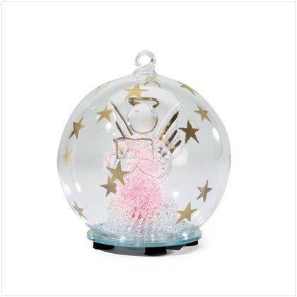 GLASS CHRISTMAS ANGEL ORNAMENT - PINK