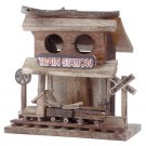 WOODEN TRAIN STATION BIRD HOUSE