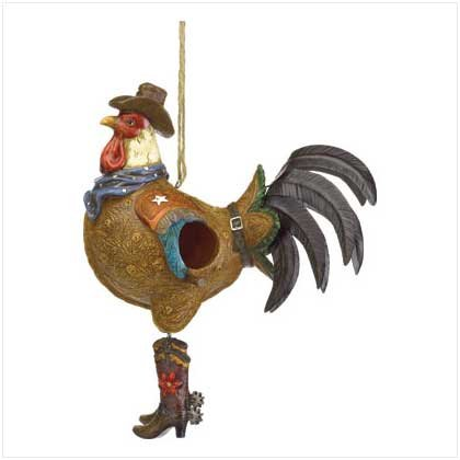 COWBOY ROSSTER BIRD HOUSE
