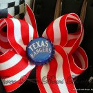 Texas Rangers red and white twisted boutique bow with Ranger bottle top