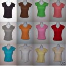 DESIGNS BY SIMEX FORM-FITTING RIBBED V-NECK TEES 12PCS LOT ,- med