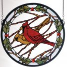15 Inch Round Cardinals & Holly Window Panel