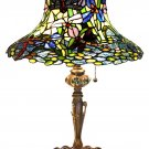 "Antique ""Hatter"" Look Dragonfly Tiffay Style Table Lamp"