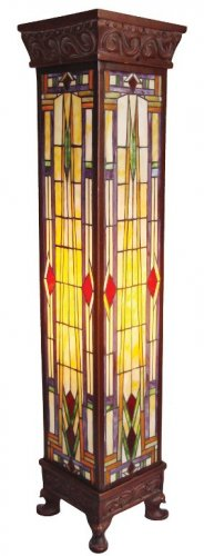Mission Design Pedestal Tiffany Styled Lamp