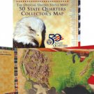 1999 to 2008 U.S. Mint State Quarter Board Map with 50 P Mint Quarters