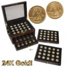Wooden Display Chest with 1999-2008 P & D Minted Gold State Quarters - 100 Coins