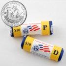 2009 Mariana Islands Quarters - Government Wrapped - Philadelphia & Denver Mint Roll Pair