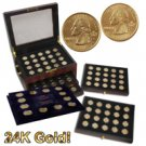 1999 to 2009 GOLD Quarters in Wooden Display Chest - 112 Coins - P & D Mints
