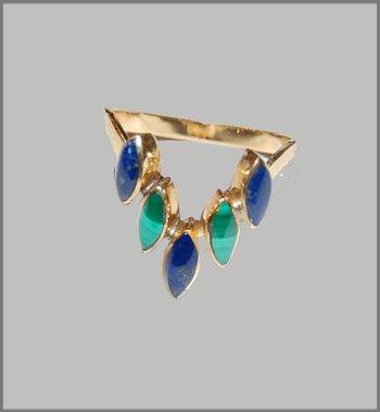 Lapislazuli  Malachite Gold Ring