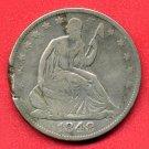 1848-O Seated Liberty Half, Clipped - Ragged Edge, Fine